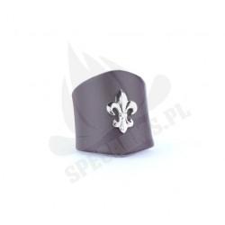 Pierścień harcerski skórzany, czarny z lilijką srebrną